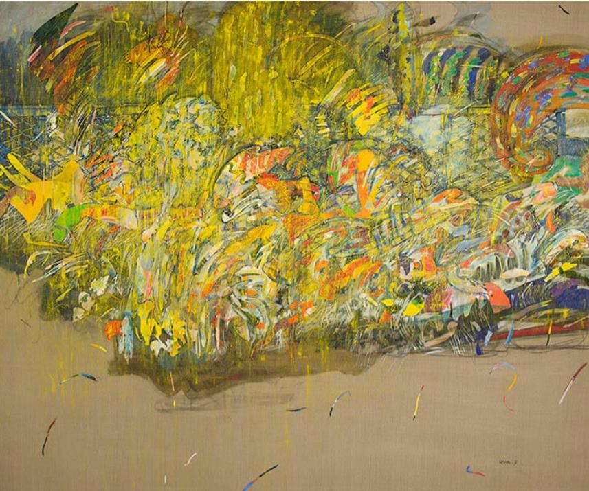 深沢軍治《庭先植物生態学(B)》 1984(昭和59) 油彩・キャンバス 郡山市立美術館蔵