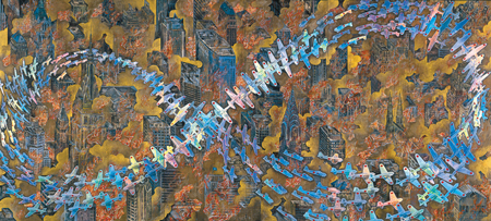 会田誠《紐育空爆之図(にゅうようくくうばくのず)(戦争画RETURNS)》1996年、高橋龍太郎コレクション 零戦CG制作:松橋睦生、 撮影:長塚秀人 Photo: NAGATSUKA Hideto ©AIDA Makoto, Courtesy of Mizuma Art Gallery