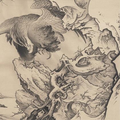 巨鷲図(部分) 狩野芳崖 崖明治21年(1888)頃 Gift of the Clark Center for Japanese Art & Culture; formerly given to the Center in memory of Gail Liebes, a woman with a passion for art and a love of Japan, from her husband John, and her children Alison and Christopher