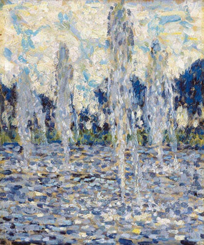 アンリ・ル・シダネル《ヴェルサイユ、噴水》1937年 フランス、個人蔵