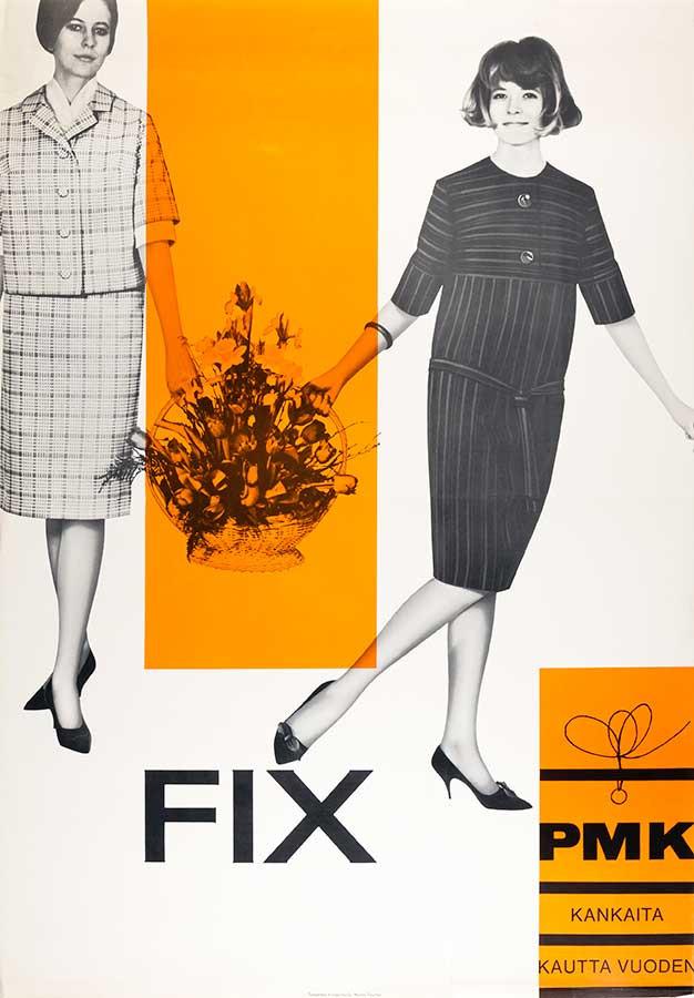 《PMKコットン広告》1960 年代、タッシェル広告社、タンペレ市立歴史博物館蔵、Photo/Saana Säilynoja