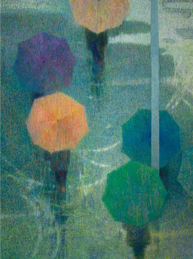 安藤重春《雨の華》 1979(昭和54) 岩絵具・紙 郡山市立美術館蔵