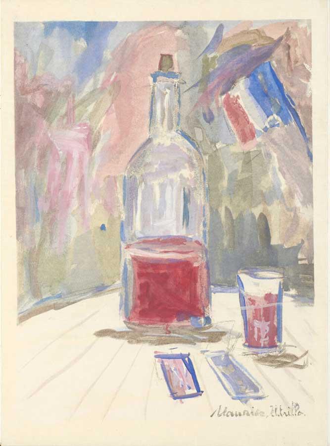モーリス・ユトリロ《『葡萄酒、花、 炎』(ジョルジュ・デュアメルほか著) のための挿絵》1952 年刊 石橋財団アーティゾン美術館蔵  ※「特集コーナー展示 挿絵本にみる20世紀フランスとワイン」の広報用画像です。