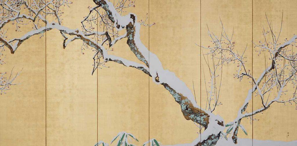 木島櫻谷《雪中梅花》右隻 大正7年(1918)