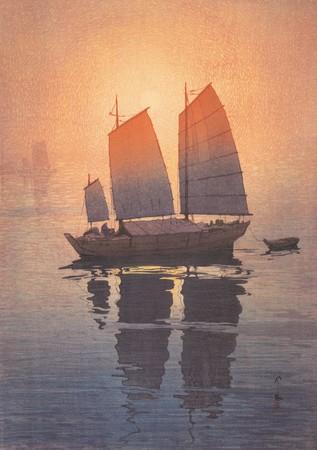 吉田博《帆船 朝 瀬戸内海集》 1926年(大正15)年