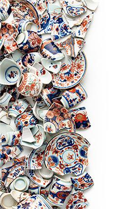 《五彩・色絵花卉文碗皿(破片)》 景徳鎮窯・有田窯 18世紀前半 ロースドルフ城蔵