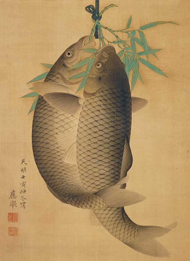 円山応挙《双理図》 江戸・天明2年(1782)