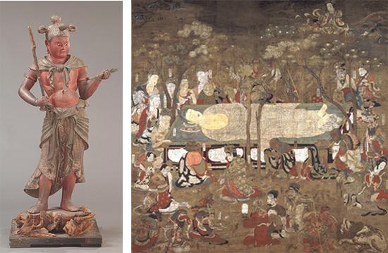 左:国宝 八大童子立像(制多伽童子像)金剛峯寺 【通期】/ 右:国宝 仏涅槃図 金剛峯寺 【4期】