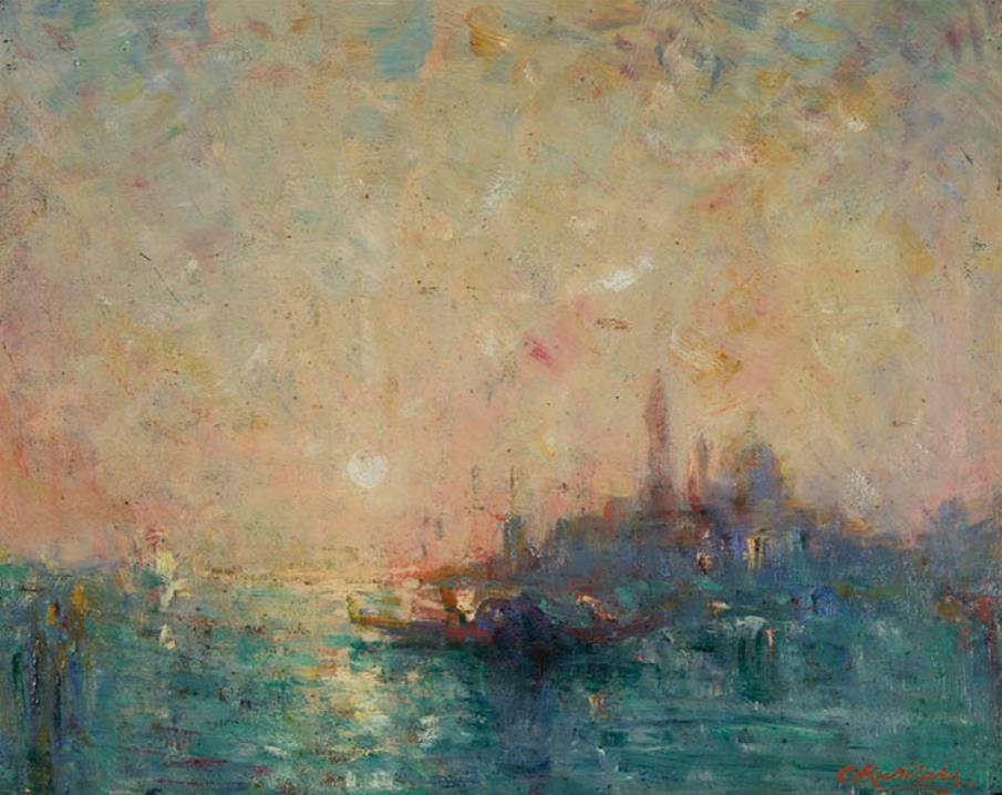 栗原忠二《ヴェニス風景》 1921(大正10) 油彩・板