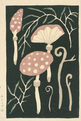 千代紙「きのこ」大正3(1914)年頃