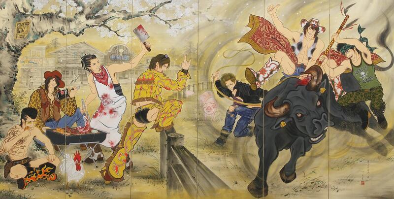 木村了子《男子楽園図屏風 − EAST & WEST》(上:左隻、下:右隻) 2011 作家蔵 撮影:宮島径
