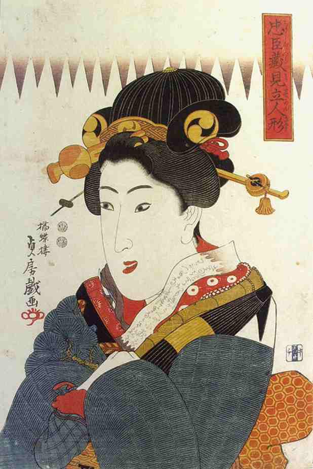 歌川貞房 《忠臣蔵見立人形》 1846-48年