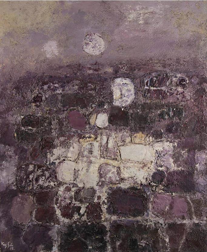 佐藤敬《石の対話》 1958(昭和33) 油彩・キャンバス 郡山市立美術館蔵