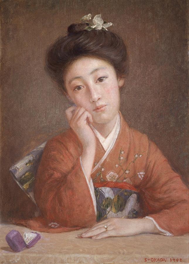 岡田三郎助 《ダイヤモンドの女》 1908年 福富太郎コレクション資料室