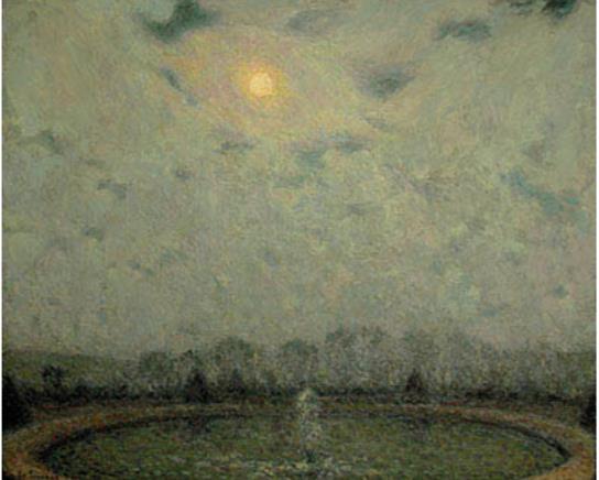 アンリ・ル・シダネル《ヴェルサイユ、月夜》1929年 フランス、個人蔵
