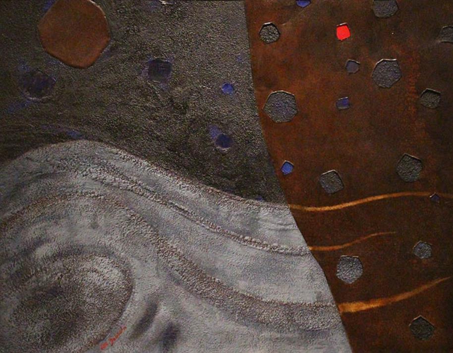 土橋醇《星の幻想B》 1975(昭和50) 油彩、鉄板・板 郡山市立美術館蔵