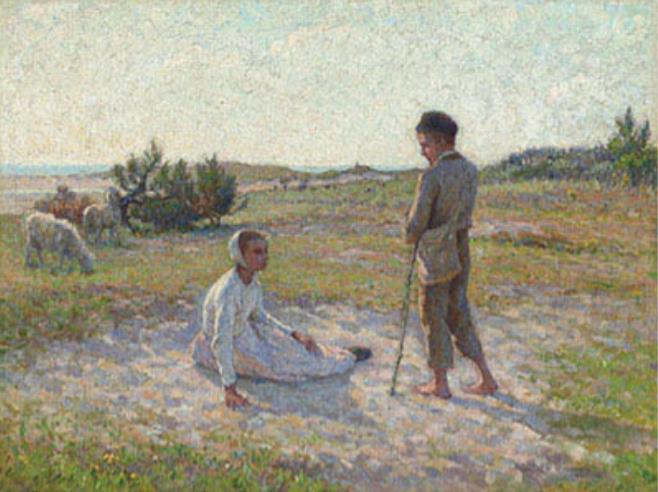 アンリ・ル・シダネル《エタプル、砂地の上》1888年 フランス、個人蔵
