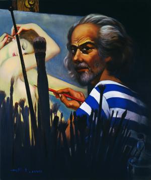 古沢岩美《夜の自画像》1978年