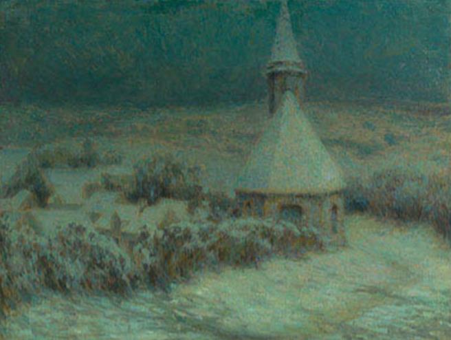 アンリ・ル・シダネル《ビュイクール、月明かりのなかの教会》1904年 フランス、個人蔵