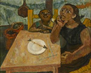 中野淳《ある食卓》 1954年、板橋区立美術館蔵