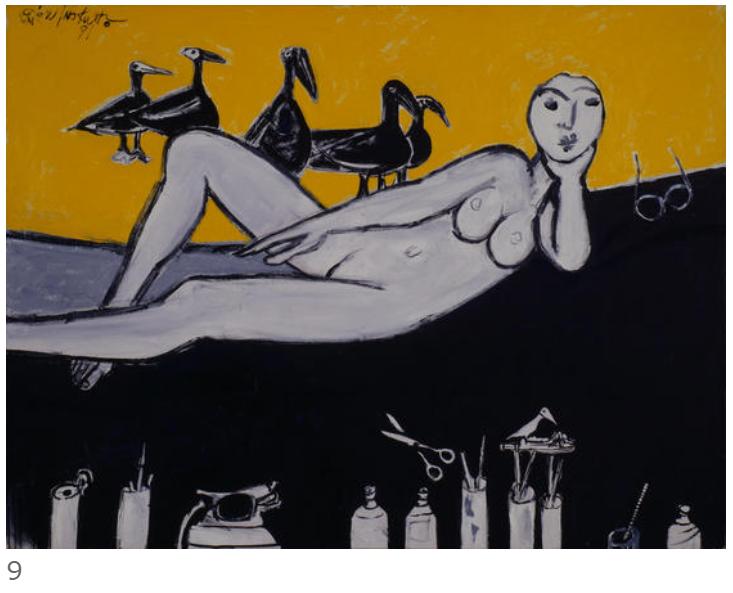 9. 猪熊弦一郎《横臥裸子と鳥達》1991年 丸亀市猪熊弦一郎現代美術館蔵