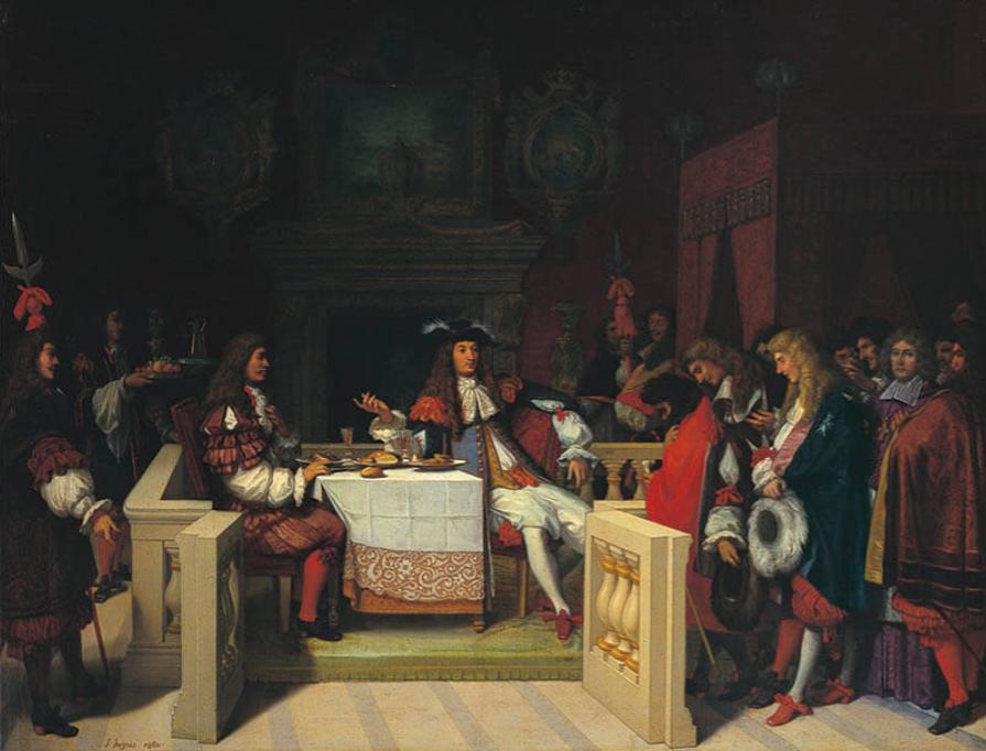ジャン=オーギュスト=ドミニク・アングル《ルイ14世の食卓のモリエール》1860年