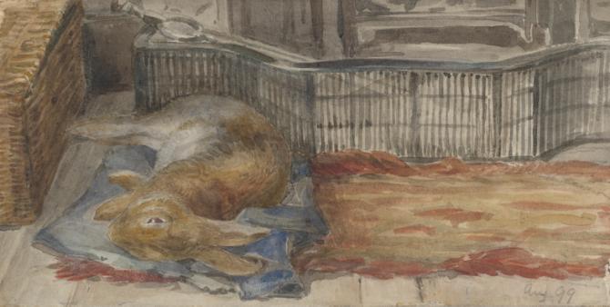 《暖炉の側で横たわるピーター》1899年 ヴィクトリア&アルバート博物館(リンダーコレクションからの寄贈)
