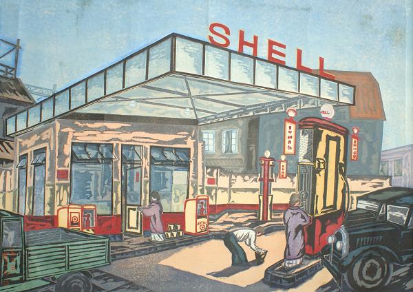 大貫芳一郎《ガソリンスタンド》1933年、木版多色刷、紙、鹿沼市立川上澄生美術館蔵