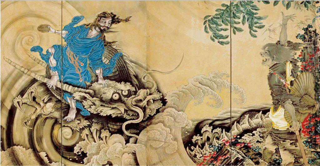 重要文化財《群仙図屏風》(右隻部分)紙本着色 明和元(1764)年 文化庁蔵  ※展示期間10月8日~10月31日