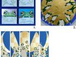 1.「めざめる蛙たち~Frog Face~」SSM×4 2.「月の輪~金~」S4 3.「月を渡る蛙たちⅠ~Ⅴ …Flying Frog…」 各700×200㎜ 箔・岩絵具・紙本彩色