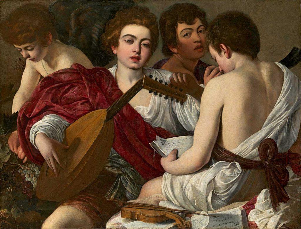 《音楽家たち》 カラヴァッジョ(本名 ミケランジェロ・メリージ) 1597年 油彩/カンヴァス 92.1x118.4cm Rogers Fund, 1952 / 52.81 ニューヨーク、メトロポリタン美術館