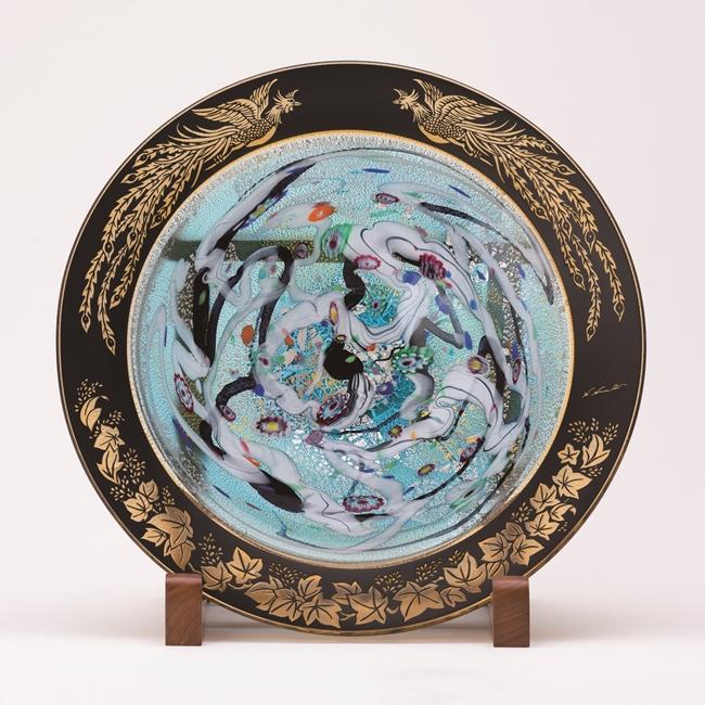 ~想~KUROKIロマン 飾皿 金・プラチナ象嵌「光琳 桐と鳳凰」台座寸法W58×D35×H56.3cm