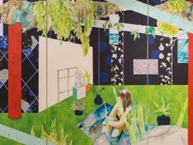 「Bath」 1940 × 3909mm  2020 年 油彩、アクリル、ペン、テキスタイル、シルクスクリーン、キャンバス