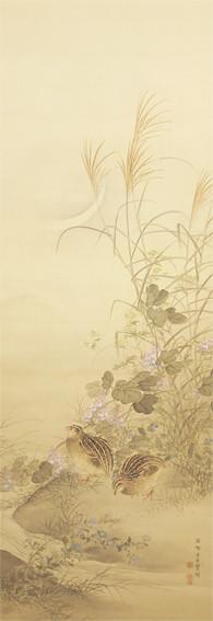 幸野 楳嶺 筆  秋草双鶉図  こうの ばいれい    しゅうそうそうじゅんず   明治時代(19世紀) 絹本着色・1幅   142×50㎝