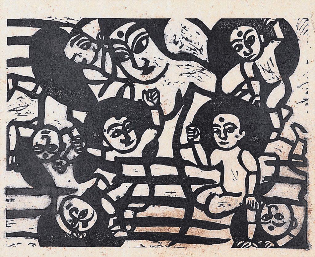 《華厳譜》より母神の柵 板画 1936