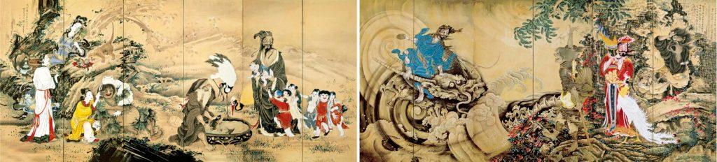 重要文化財《群仙図屏風》紙本着色 明和元(1764)年 文化庁蔵 ※展示期間10月8日~10月31日