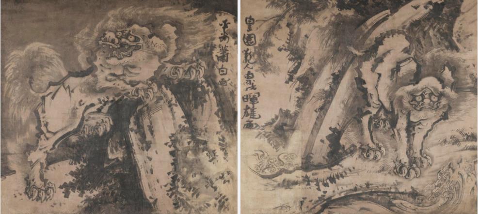 重要文化財《唐獅子図》紙本墨画 明和元(1764)年頃 朝田寺蔵