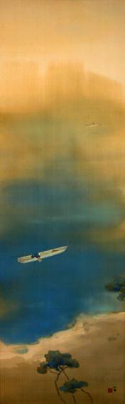 竹内 栖鳳 筆  潮沙和暖 たけうち せいほう    ちょうさわだん   大正時代(20世紀) 絹本着色・1幅   135.3×42.4㎝