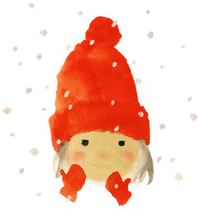 いわさきちひろ 赤い毛糸帽の女の子『ゆきのひのたんじょうび』(至光社)より 1972年