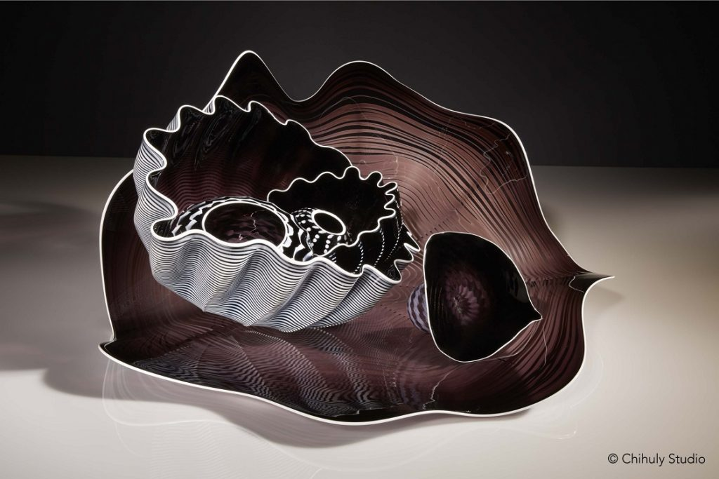 Dale Chihuly, Black and White Seaform Set, 2018, 38.1 × 71.2 × 68.6 cm © Chihuly Studio