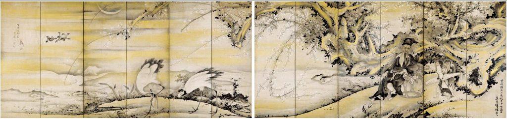 《林和靖図屏風》紙本墨画淡彩 宝暦十(1760)年 三重県立美術館蔵