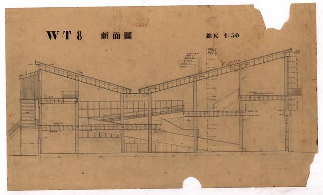 高島屋和歌山支店断面図(50分の1)、文化庁国立近現代建築資料館所蔵