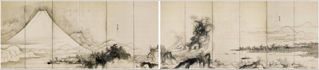 《富士三保松原図屏風》紙本墨画淡彩 宝暦年間(1751~1764)個人蔵