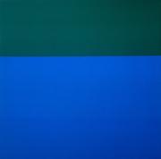 ブリンキー・パレルモ《無題(布絵画:緑/青)》1969年 クンストパラスト美術館、デュッセルドルフ ©️Kunstpalast – ARTOTHEK