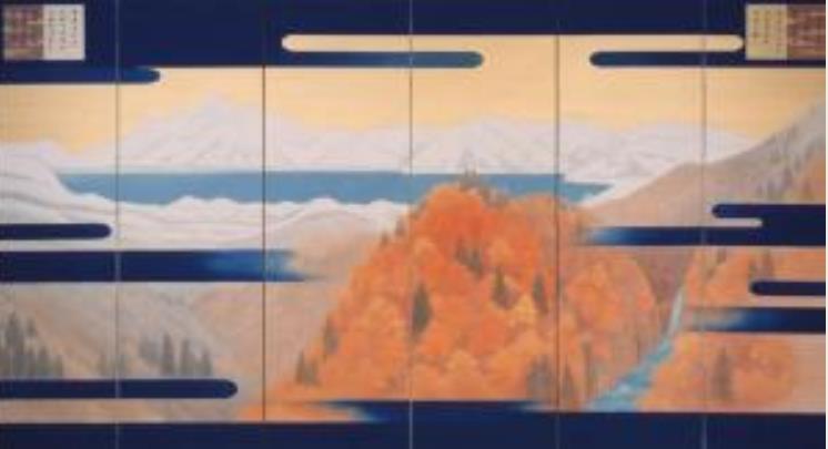 東山魁夷 《平成度 悠紀地方風俗歌屏風》(左隻) 1990年 後期展示