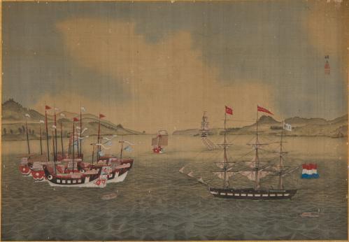 初公開!〕「長崎港図」  川原慶賀(かわはらけいが)画  19世紀前半