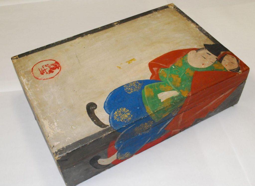 《芥川図手箱》木製紙貼着色 制作年不詳