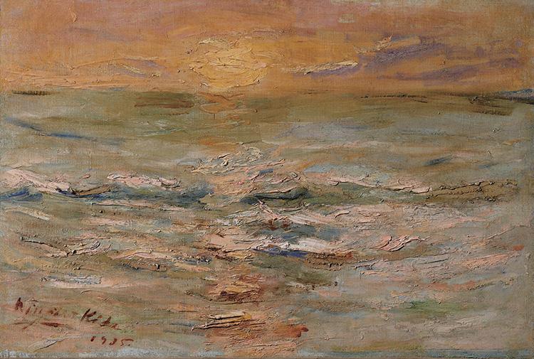 木田金次郎 波と夕陽 1935