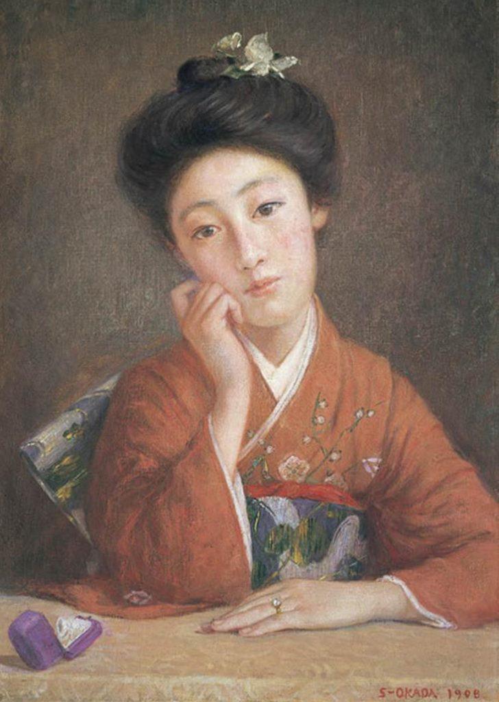 岡田三郎助《 ダイヤモンドの女 》 1908 年 福富太郎コレクション資料室蔵