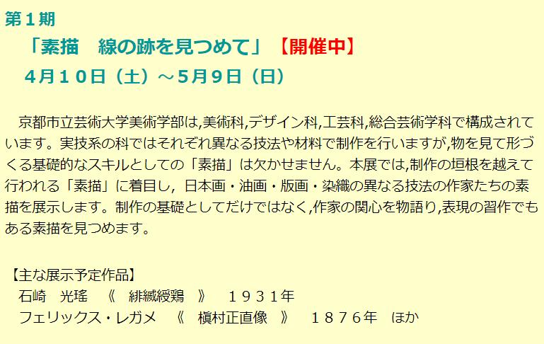 「素描 線の跡を見つめて」京都市立芸術大学芸術資料館